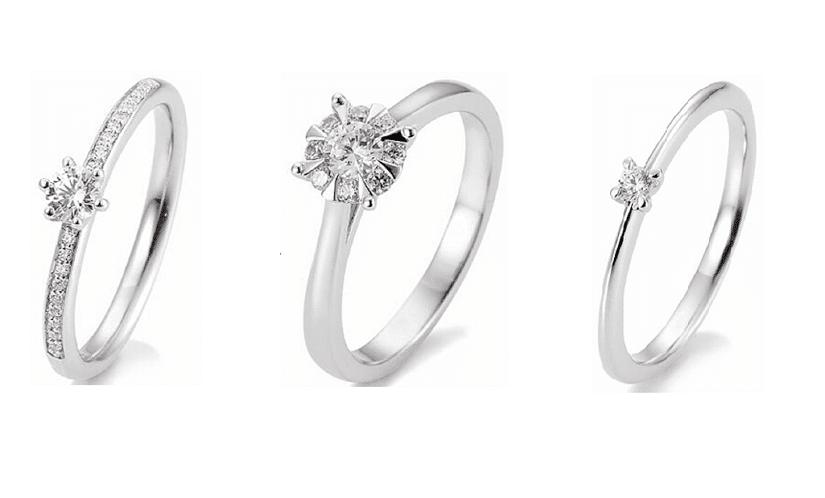Auswahl verschiedener weißgoldfarbener Verlobungsringe