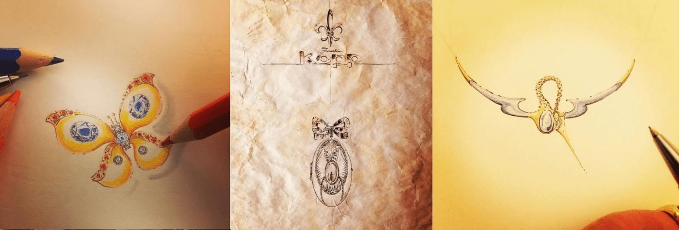 Schmuckzeichnungen auf einem Blattpapier