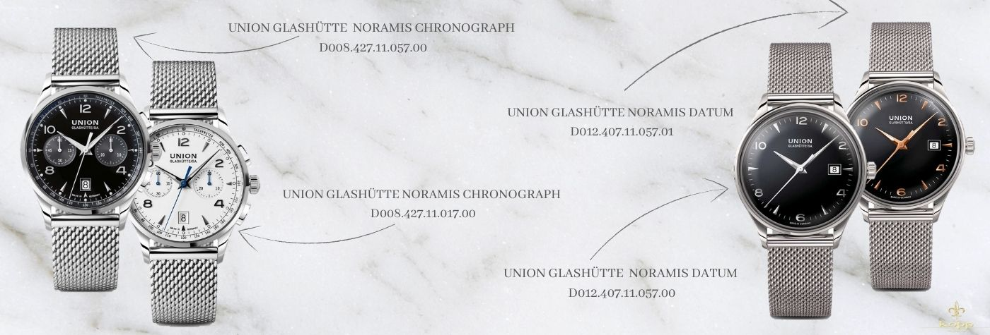 Union Glashütte Milanaiseuhren auf einem weißen Marmorhintergrund