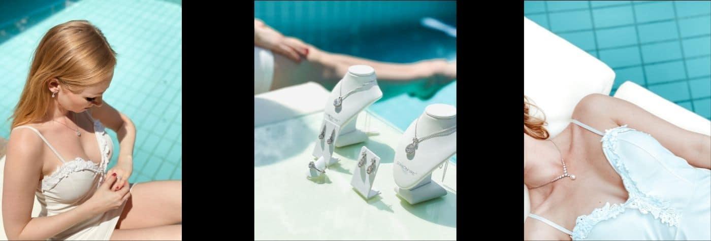 Blonde Frau mit weißem Kleid und Brillantschmuck sitzt am Pool. Daneben sind Schmuckbüsten mit Schmuck von Diamonfire abgebildet