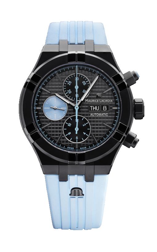 Schwarze Uhr mit hellblauem Kautschukband