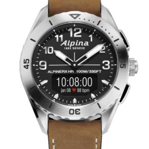 Smartwatch mit braunem Lederband und silbernem Gehäuse mit schwarzer Anzeige